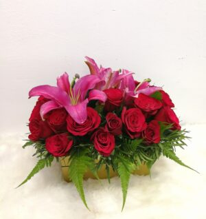 Red Roses & Pink Lilies