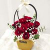 red roses with diamond pin