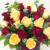Mixed champagne & red roses in a box